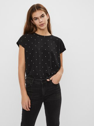 Čierne bodkované tričko VERO MODA