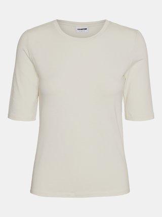 Krémové tričko Noisy May Lina