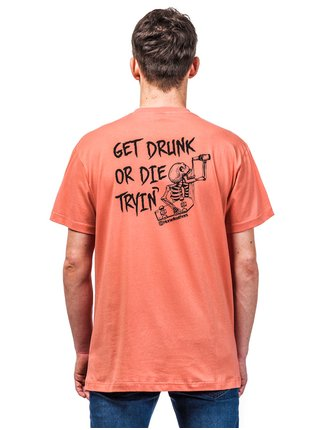 Horsefeathers GET DRUNK CORAL pánské triko s krátkým rukávem - oranžová