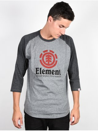 Element VERTICAL RAGLAN grey heather pánské triko s dlouhým rukávem - šedá