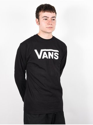 Vans CLASSIC black/white pánské triko s dlouhým rukávem - černá