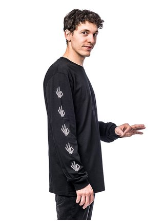 Horsefeathers ERISS ATRIP black pánské triko s dlouhým rukávem - černá