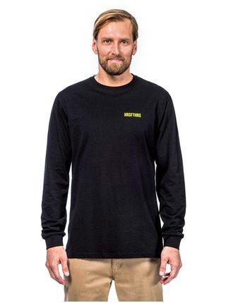 Horsefeathers ELVIN ATRIP black pánské triko s dlouhým rukávem - černá