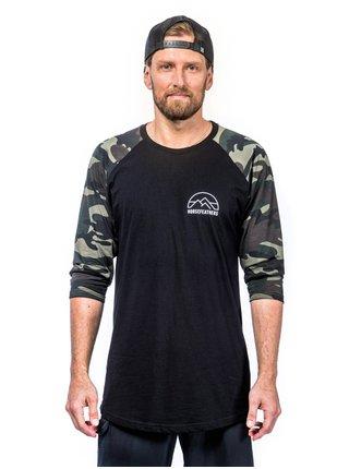 Horsefeathers TRENT olive camo pánské triko s dlouhým rukávem - černá