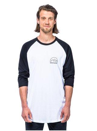 Horsefeathers TRENT black pánské triko s dlouhým rukávem - bílá