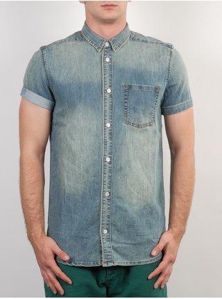 WESC Eric WASHED OUT košile pro muže krátký rukáv - modrá