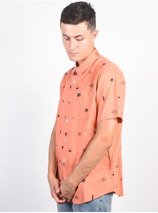 RVCA MOWGLI TERRACOTA košile pro muže krátký rukáv - meruňková