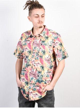 Billabong SUNDAYS FLORAL CORAL košile pro muže krátký rukáv - korálová
