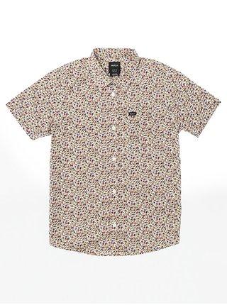 RVCA BELLFLOWER ANTIQUE WHITE košile pro muže krátký rukáv - barevné