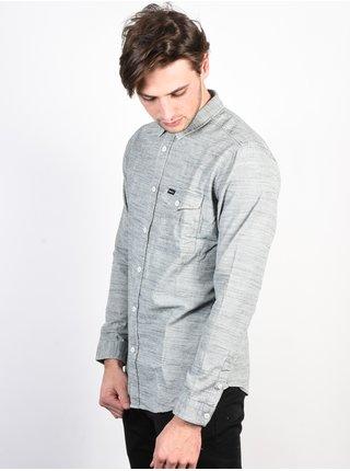 RVCA HONEST SILVER BLEACH pánské košile s dlouhým rukávem - šedá