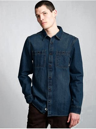 Element PACE DENIM BLACK OVERDYE pánské košile s dlouhým rukávem - modrá