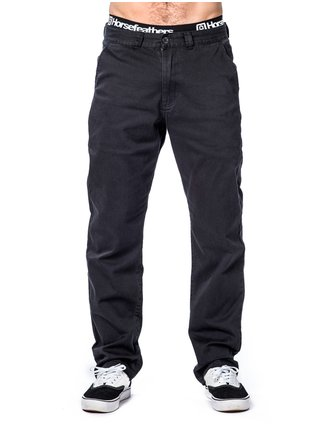 Horsefeathers MACKS black plátěné kalhoty pánské - černá
