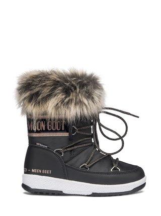 Moon Boot černé zimní dívčí boty JR Girl Monaco Low WP Black/Cooper