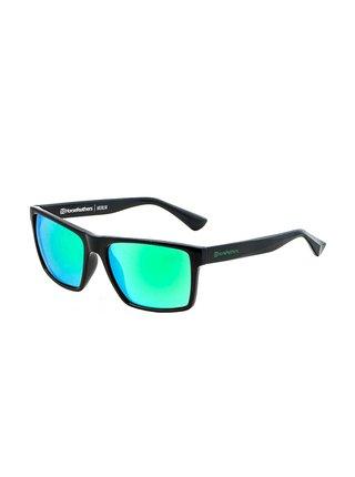 Horsefeathers MERLIN gloss black/mirror green sluneční brýle pilotky - černá