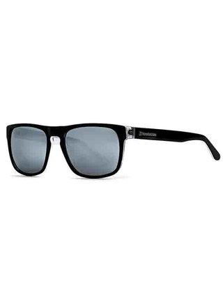 Horsefeathers KEATON gloss black/mirror white sluneční brýle pilotky - černá