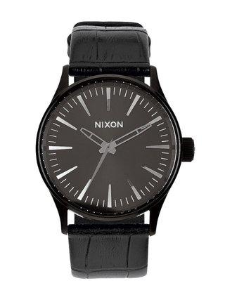 Nixon SENTRY 38 LEATHER BLACKGATOR analogové sportovní hodinky - černá