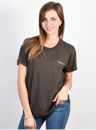 RVCA DOLPHIN CLUB GREYSKULL dámské triko s krátkým rukávem - hnědá