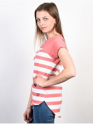 Alife and Kickin CLAIRE   Coral Stripes dámské triko s krátkým rukávem