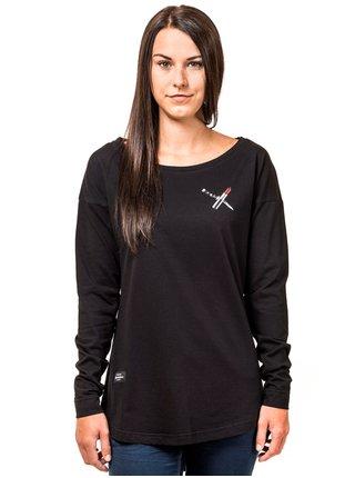 Horsefeathers KNIFE black dámské triko s dlouhým rukávem - černá