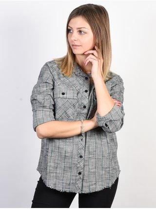RVCA ANSWERED Vintage White dámská košile s dlouhým rukávem - šedá