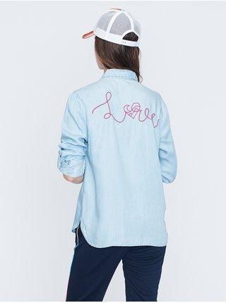 Femi Stories AMAL LBD dámská košile s dlouhým rukávem - modrá