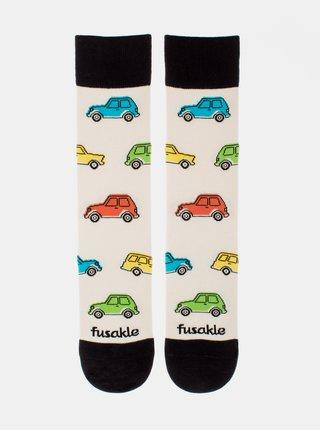 Krémové vzorované ponožky Fusakle Autíčkář