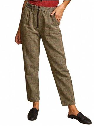 RVCA LENNEX OATMEAL plátěné kalhoty dámské - hnědá