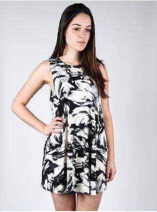 RVCA SUCKER PUNCHED Vintage White krátké letní šaty - černá