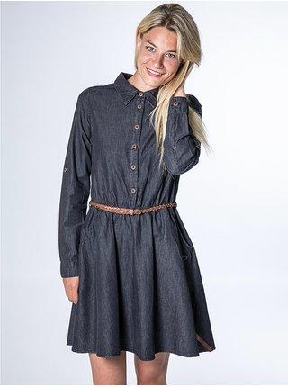 Alife and Kickin HANNA black denim krátké letní šaty - černá