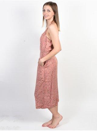 RVCA CECE CAMEO BROWN dlouhé letní šaty - hnědá