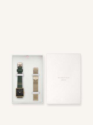 Sada dámskych hodiniek a náhradného remienku v zelenej a zlatej farbe Rosefield