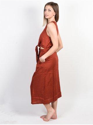 RVCA ARIZONA BURNT RED dlouhé letní šaty