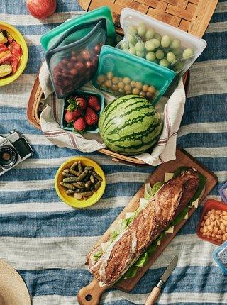 Zelené silikonové vrecúško na potraviny Stasher Sandwich 450 ml