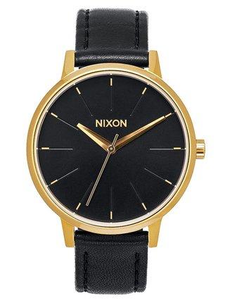 Nixon KENSINGTON LEATHER GOLDBLACK analogové sportovní hodinky - černá
