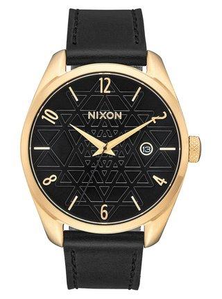Nixon BULLET LEATHER GOLDBLACKSTAMPED analogové sportovní hodinky - černá