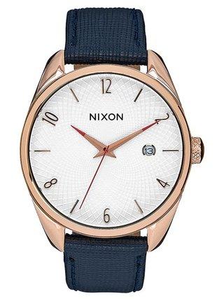 Nixon BULLET LEATHER ROSEGOLDNAVY analogové sportovní hodinky - modrá