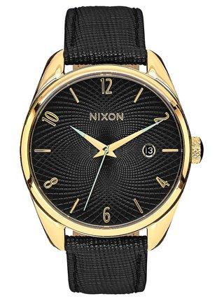 Nixon BULLET LEATHER GOLDBLACK analogové sportovní hodinky - černá