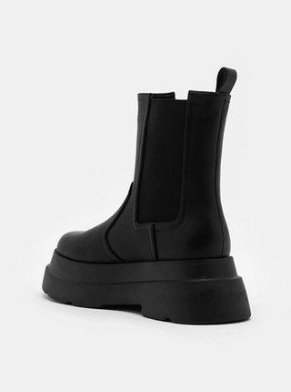 Černé chelsea boty na platformě TALLY WEiJL