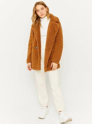 Hnědý krátký kabát z umělého kožíšku TALLY WEiJL