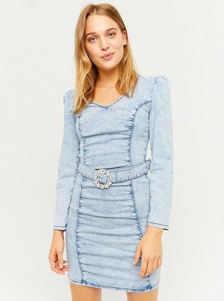 Modré pouzdrové džínové minišaty TALLY WEiJL