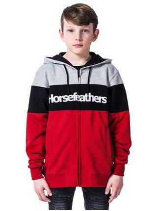 Horsefeathers TREVOR LAVA RED dětská mikiny na zip - červená