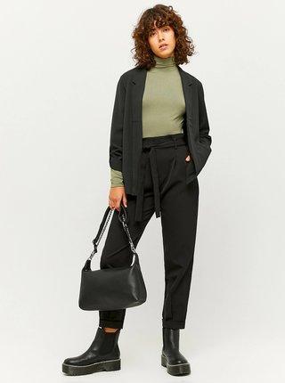 Čierne skrátené nohavice so zaväzovaním TALLY WEiJL