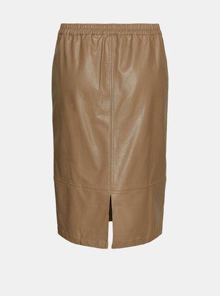 Hnedá koženková sukňa VERO MODA CURVE