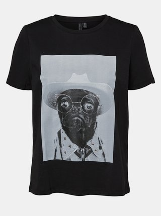 Černé tričko s potiskem VERO MODA