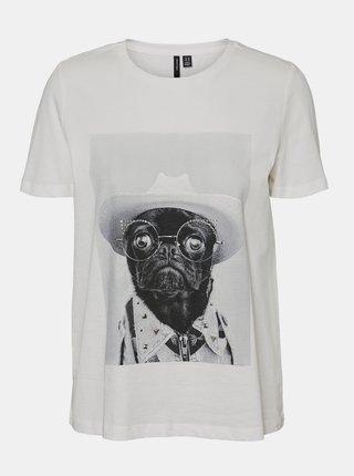 Bílé tričko s potiskem VERO MODA-Lizolly
