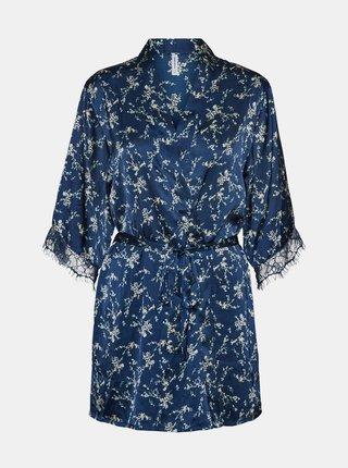 Modré kvetované saténové kimono VERO MODA