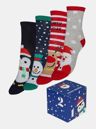Sada štyroch párov ponožiek s vianočným motívom VERO MODA