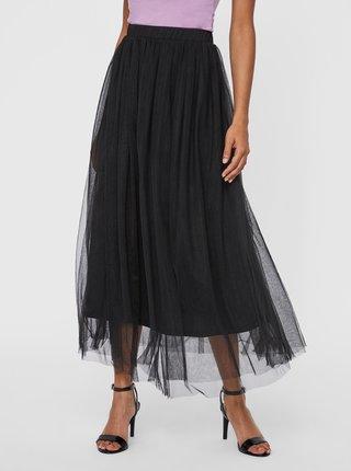 Čierna tylová midi sukňa VERO MODA