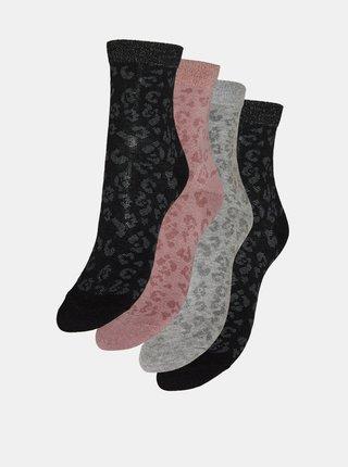Sada štyroch párov vzorovaných ponožiek v šedej a čiernej farbe VERO MODA