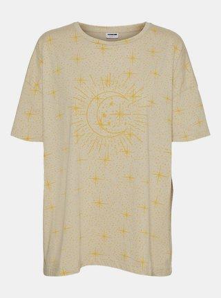 Béžové tričko s potiskem Noisy May Ida